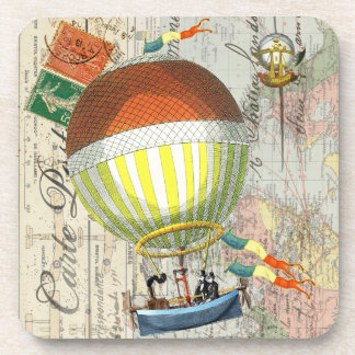 Hot Air Balloon Post Card Beverage Coaster