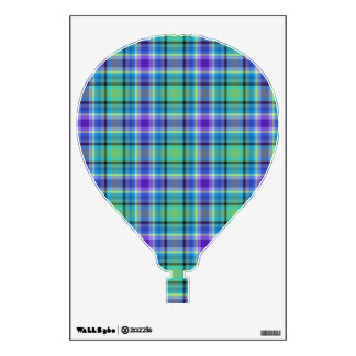 Hot Air Balloon - Purples and greens plaids Wall Decal