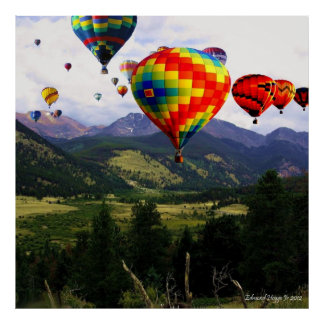 Hot Air Balloon Ride in the Rockies  Poster