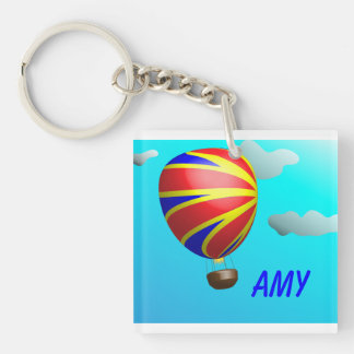 Hot Air Balloon Ride Single-Sided Square Acrylic Keychain