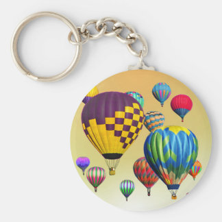 Hot Air Balloon Rides across the Countryside Basic Round Button Keychain