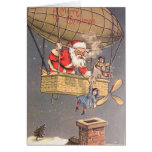 Hot Air Balloon Santa Claus Vintage Greeting Card