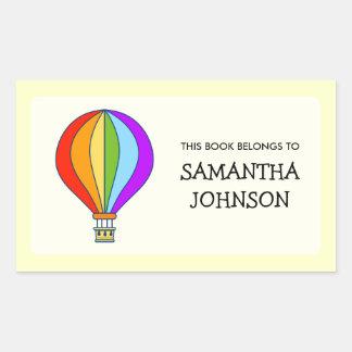 Hot air balloon school book label stickers sticker