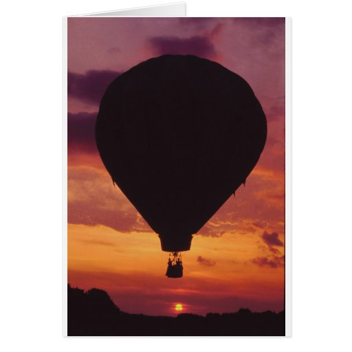 Hot Air Balloon silhouetted against a Sunset Greeting Card