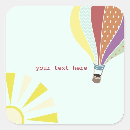 Hot Air Balloon & Sun Envelope Seal Sticker