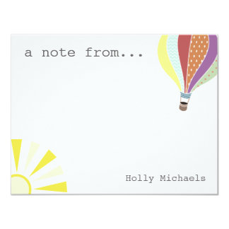 Hot Air Balloon & Sun Personalized Flat Notecard