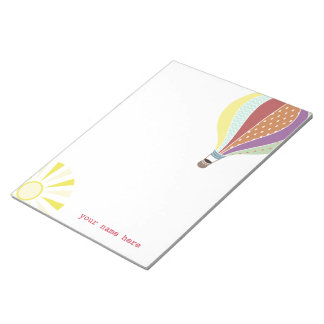 Hot Air Balloon & Sun Personalized Notepad