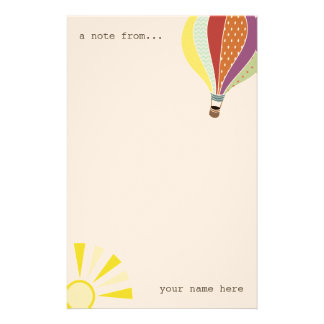 Hot Air Balloon & Sun Personalized Stationery