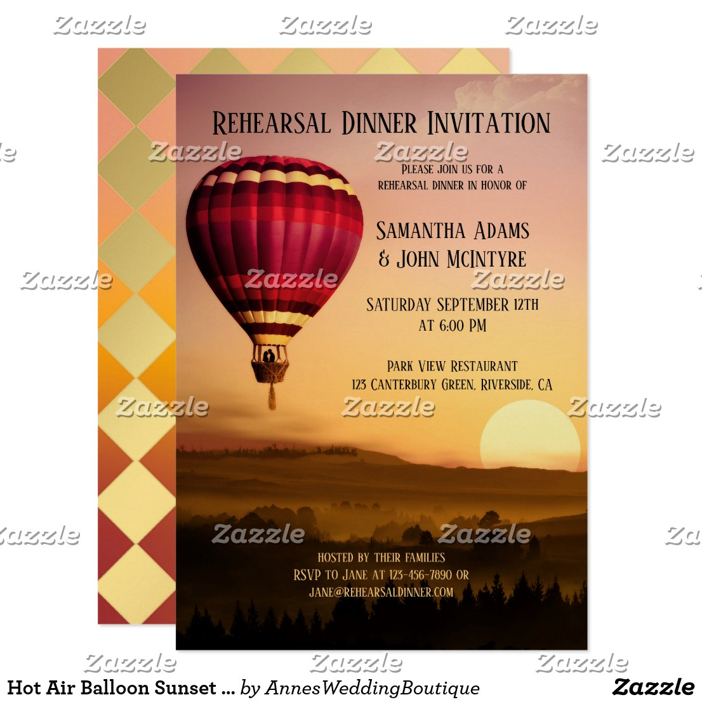 Hot Air Balloon Sunset Rehearsal Dinner Invitation