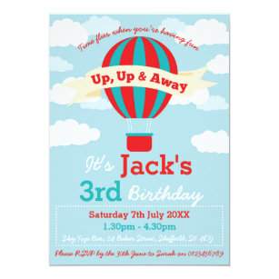 Hot air balloon party invitations announcements zazzle hot air balloon themed birthday party invitation filmwisefo