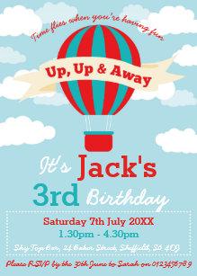 Hot air balloon invitations zazzle hot air balloon themed birthday party invitation filmwisefo