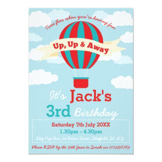 Hot Air Balloon themed birthday party invitation