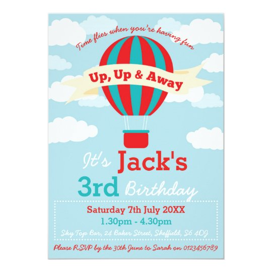 Hot Air Balloon Themed Birthday Party Invitation