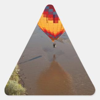 Hot Air Balloon Touching Rio Grande River Triangle Sticker
