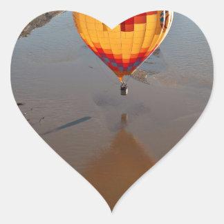 Hot Air Balloon Touching Rio Grande River Heart Sticker