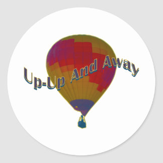Hot air balloon - up-up and away round sticker
