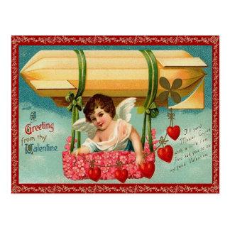 Hot Air Balloon Valentine Postcard