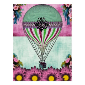 Hot Air Balloon Vintage Floral Postcard