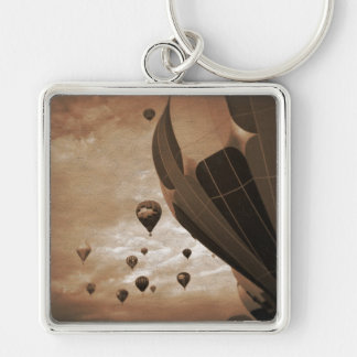Hot Air Balloon Vintage Photograph Silver-Colored Square Keychain