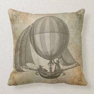 Hot air balloon vintage pillow