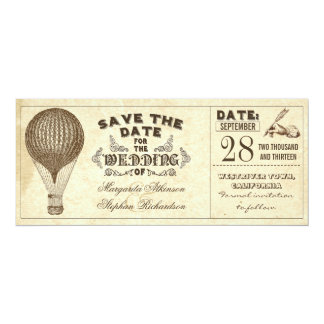 """hot air balloon vintage typography save the date 4"""" x 9.25"""" invitation card"""
