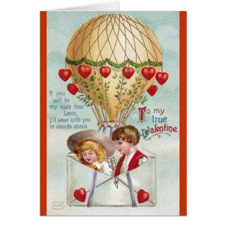 Hot Air Balloon Vintage Valentine Card