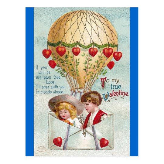 Hot Air Balloon Vintage Valentine Postcard