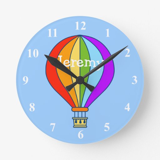 Comwall Clock For Kids Room : Hot air balloon wall clock for kids room  Zazzle