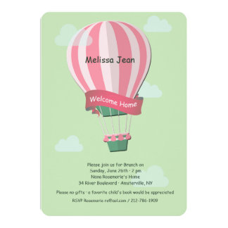 Hot Air Balloon Welcome Baby Invitation