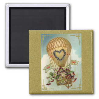 Hot Air Balloon With Flowers Valentine Cards, Gift 2 Inch Square Magnet
