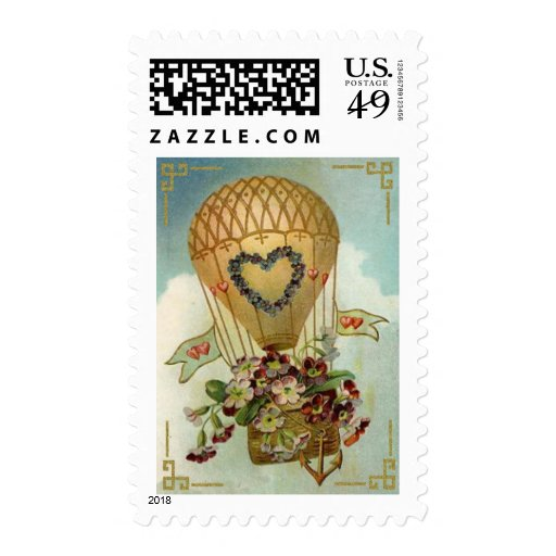 Hot Air Balloon With Flowers Valentine Cards, Gift Stamps
