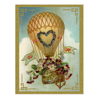 Hot Air Balloon With Flowers Valentine Cards, Gift Post Cards