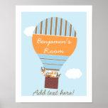 Hot Air Balloon Woodland Animals Nursery Poster