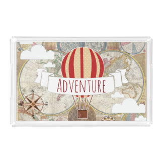 Hot Air Balloon & World Map Vintage Adventure Acrylic Tray