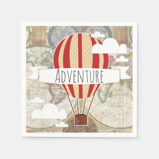 Hot Air Balloon & World Map Vintage Adventure Paper Napkin