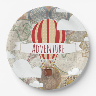 Hot Air Balloon & World Map Vintage Adventure Paper Plate