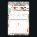 "Hot Air Balloon &amp; World Map Vintage Traveler Bingo Flyer<br><div class=""desc"">Vintage world traveler hot air balloons themed baby shower bingo cards.</div>"