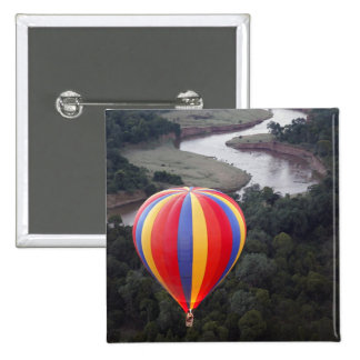 Hot-Air Ballooning over the Mara River 2 Inch Square Button