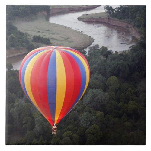 Hot_Air Ballooning over the Mara River Ceramic Tile