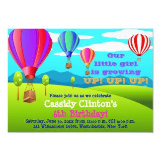 "Hot Air Balloons 6th Birthday Party Invitation 5"" X 7"" Invitation Card"