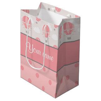 Hot Air Balloons and Polka Dots Personalized Medium Gift Bag
