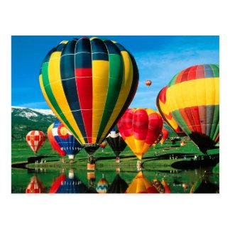Hot Air Balloons At Lakeside Past Card Postcard
