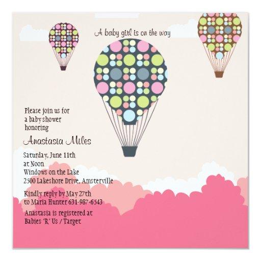 Hot Air Balloons Baby Shower Girl Invitation