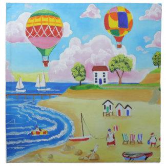 Hot air balloons beach folk art painting napkin