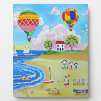 Hot air balloons beach folk art painting plaque