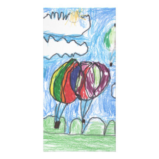 Hot Air Balloons Childs Artwork marker and crayon Card