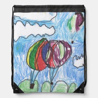 Hot Air Balloons Childs Artwork marker and crayon Drawstring Bag