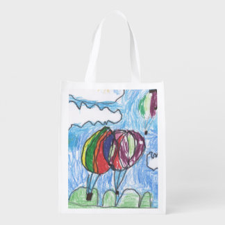 Hot Air Balloons Childs Artwork marker and crayon Grocery Bag