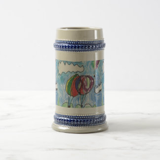 Hot Air Balloons Childs Artwork marker and crayon 18 Oz Beer Stein