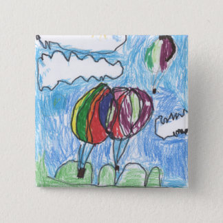 Hot Air Balloons Childs Artwork marker and crayon Pinback Button
